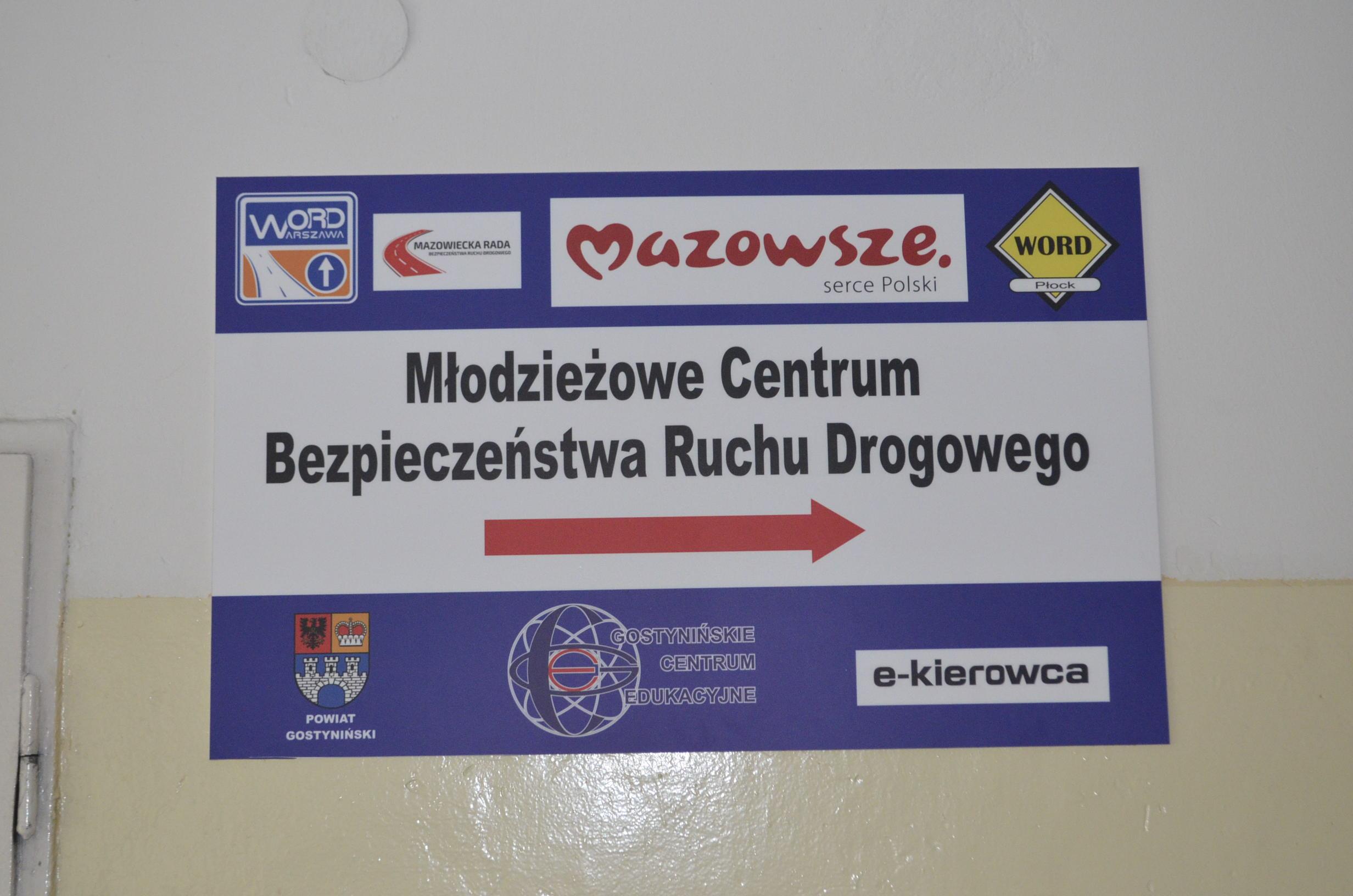 Tablica nad wejściem do Sali Wychowania Komunikacyjnego.